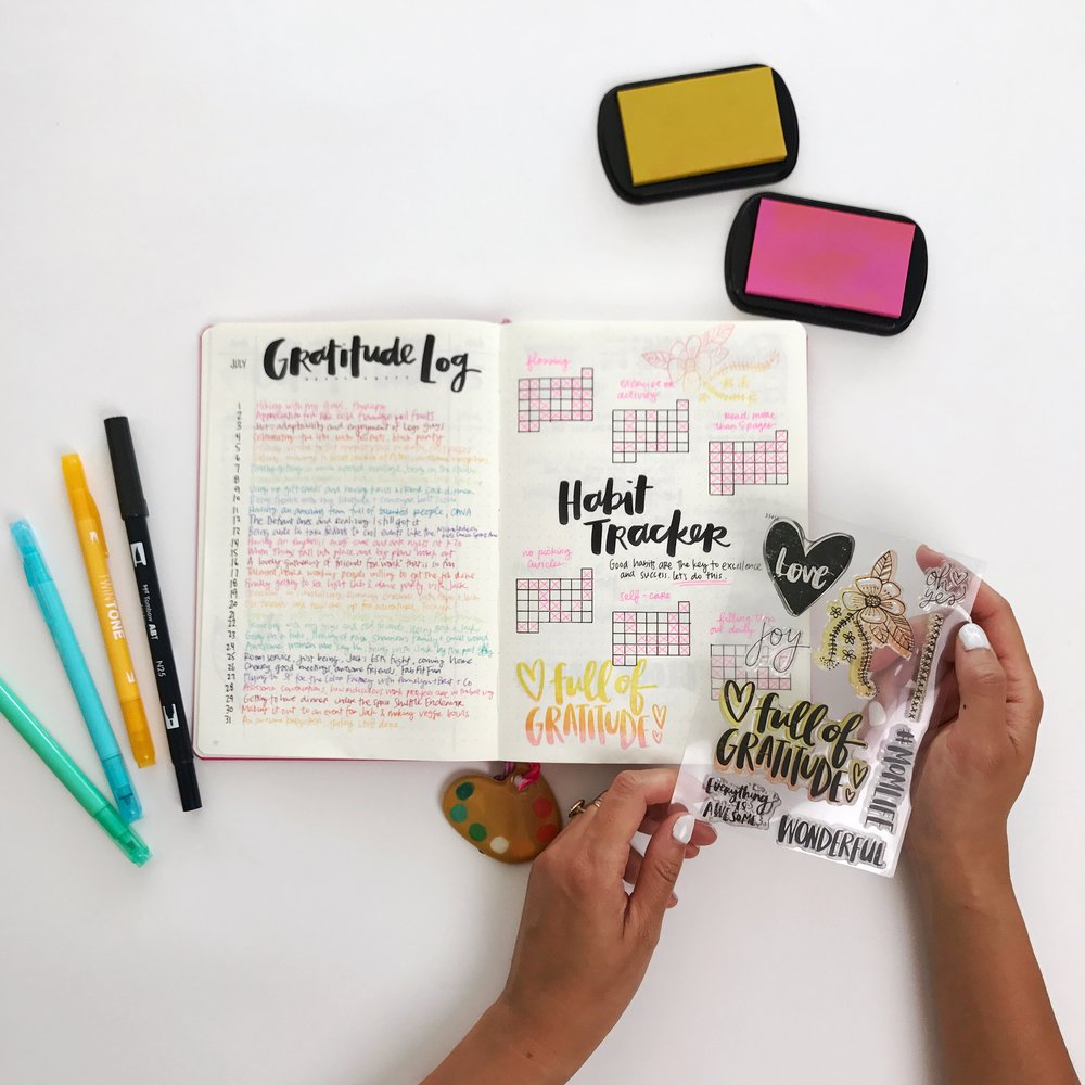 Bullet Journaling - Ombre stamping