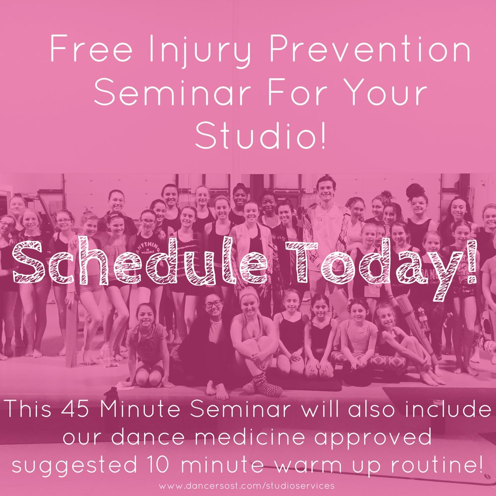 Right Now we are offering a FREE injury prevention seminar for studios! - Click here or scroll down to the bottom of this page to schedule a meeting to set up your free dance medicine seminar- we can either come to you or if you are more than 30 miles from Fitchburg, MA you can cover travel fees or do the seminar with your students through Skype! Don't worry, we have done conferences through Skype and can walk you through how that process would work.