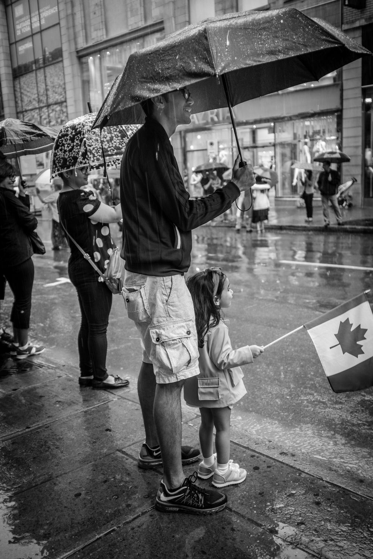 Rainy day parade.