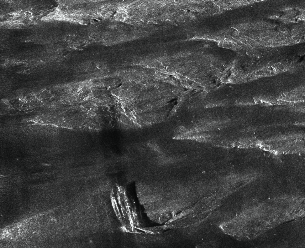 Figure 5 HISAS image of 15 metre long wreck resting on exposed bedrock.