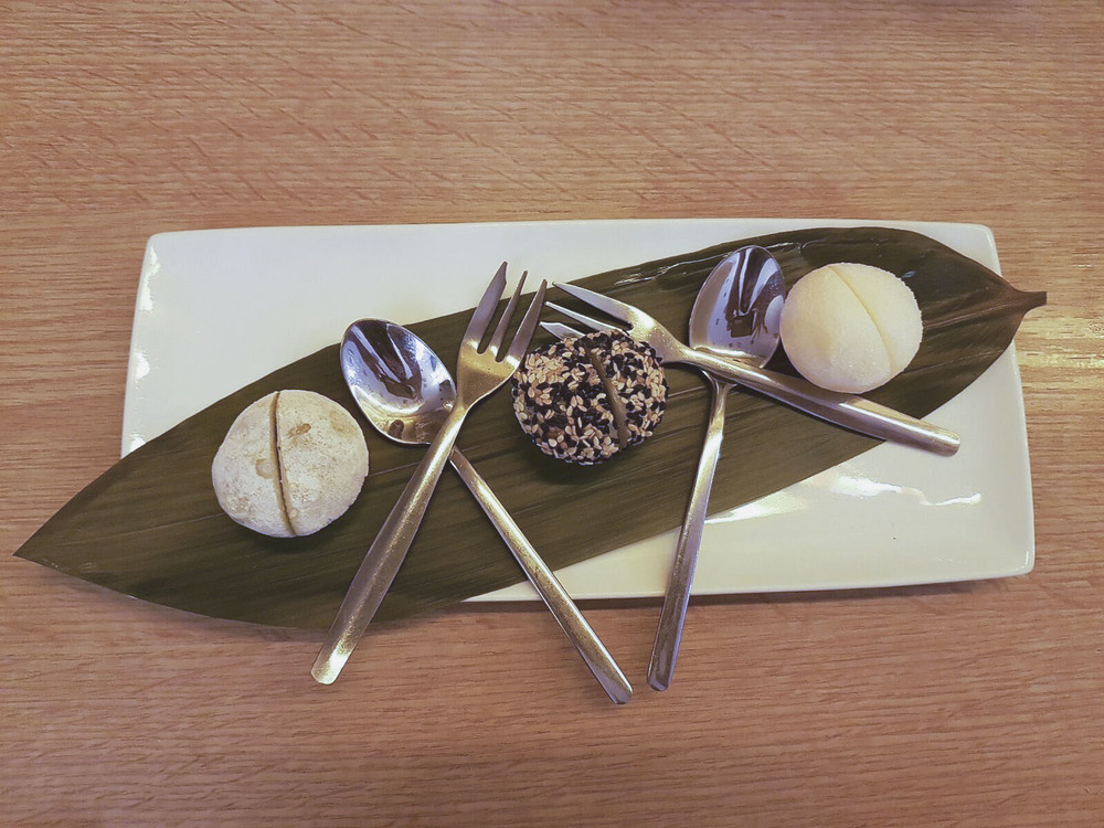 Mochi treats filled with ice cream - the perfect combo (matcha, black sesame and yuzu flavours)