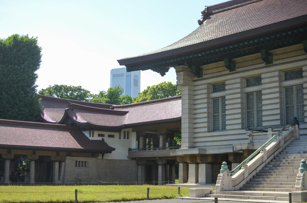 The Treasure Museum, with a glimpse of urban Tokyo in the background