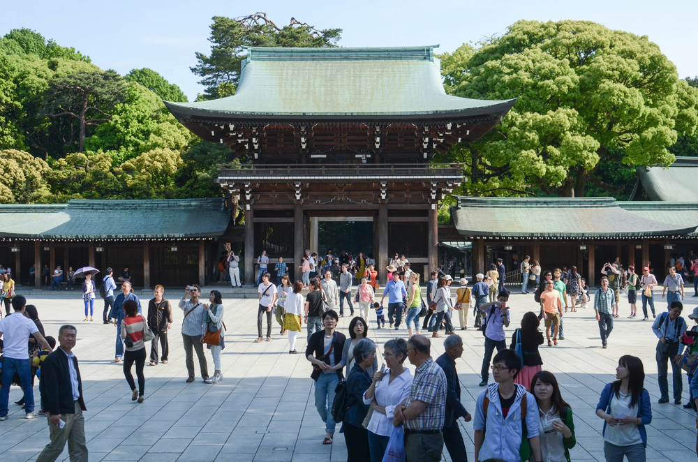 Tourists and locals gather at Meiji Jingu