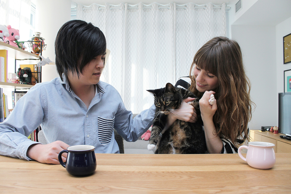 Robby, Alyona, and their adorable kitty