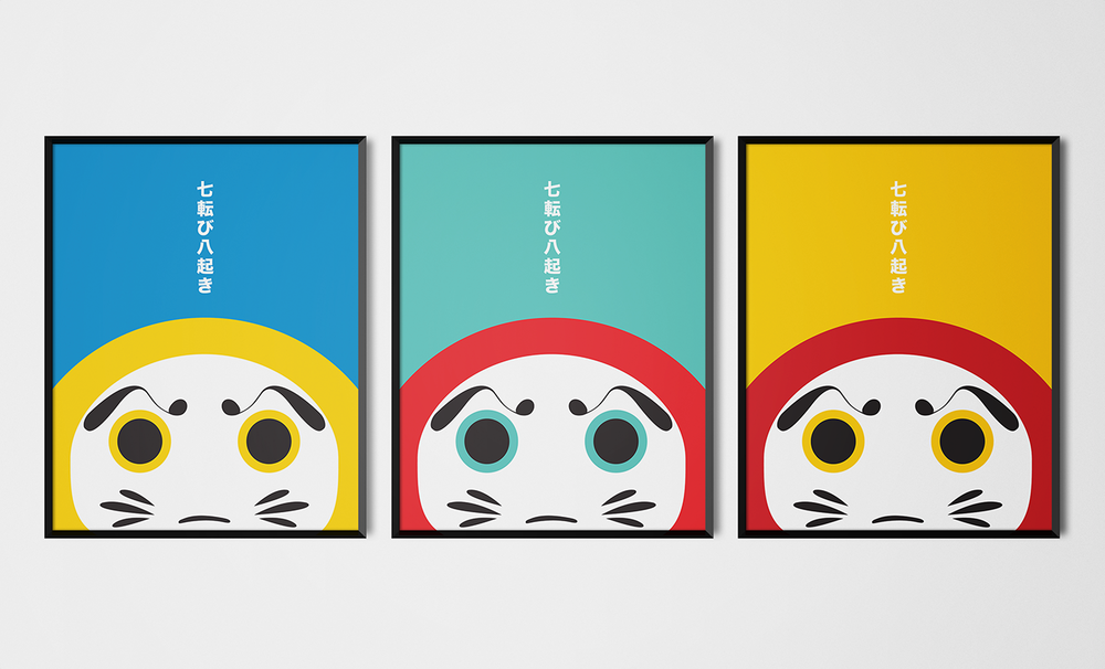 Daruma prints in an assortment of colours