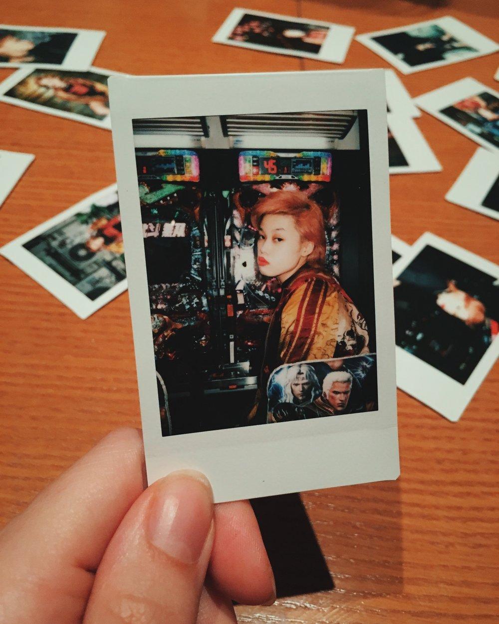 Beni at Pachinko polaroid, Tokyo