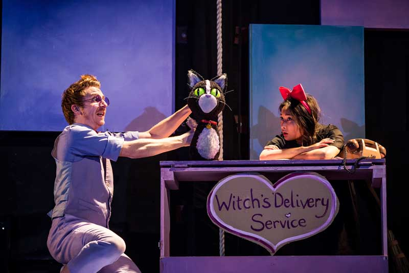 Kiki's Delivery Service.  Matthew Forbes as Jiji and Alice Hewkin as Kiki.  Image by Richard Davenport.