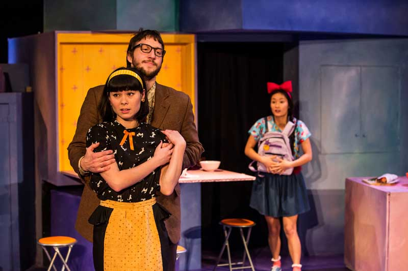 Kiki's Delivery Service.  Tom Greaves, Anna Leong Brophy and Alice Hewkin as Okino, Kokiri and Kiki.  Image by Richard Davenport.