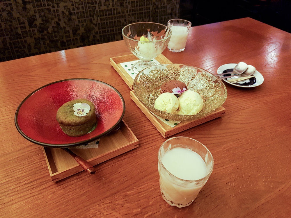 sakagura matcha green tea dessert and ice cream