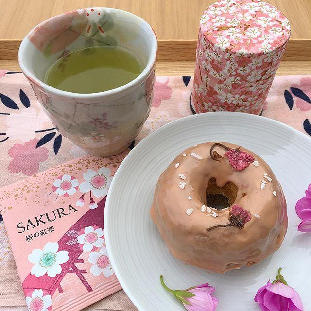 Pink iced sakura donuts