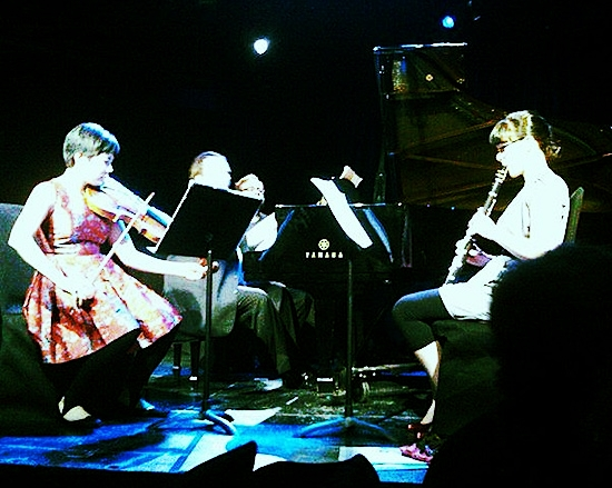 Kelly Coyle, clarinet, Ayane Kozasa, viola, and Ignat Solzhenitsyn, piano perform Book of Days at (La) Poisson Rouge in New York City. — Photo by Anne O'Donnell, Curtis Institute of Music, March, 2011