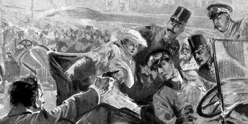 Artist's rendering of the assasination of Archduke Ferdinand and his wife.