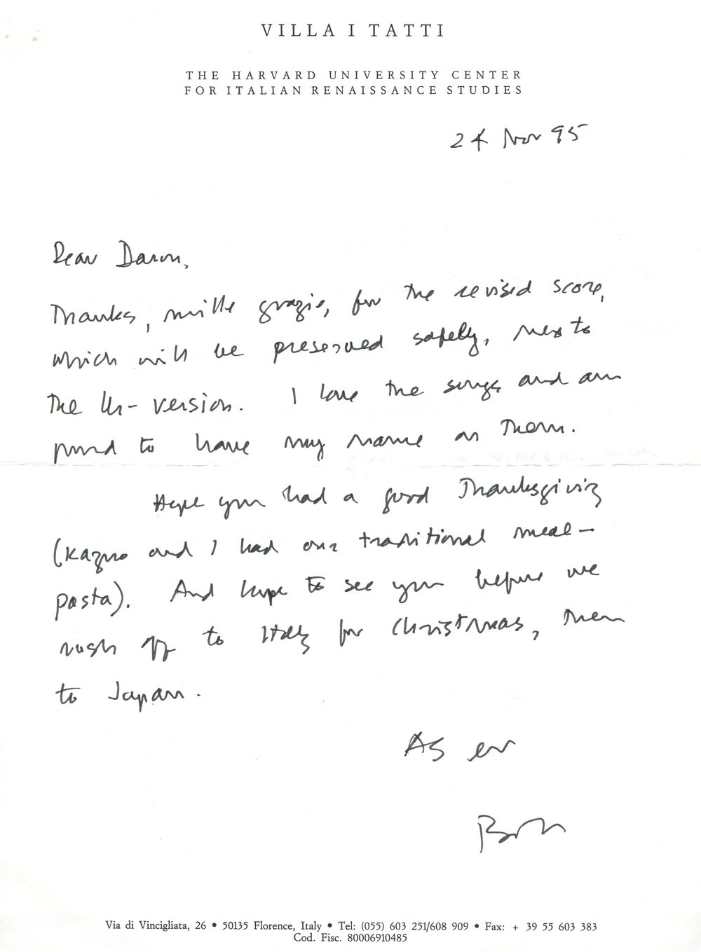 A letter from William Weaver to Daron Hagen.