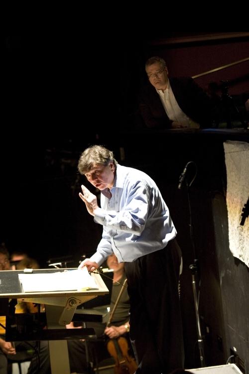 Gerard Schwarz and Daron Hagen rehearsing  Amelia.