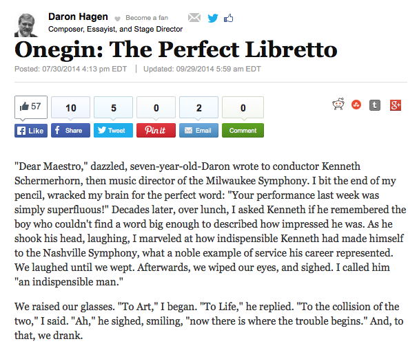 Read Daron's article about Eugene Onegin's libretto based on the 2014 lecture for the Huffington Post by clicking on the image above.
