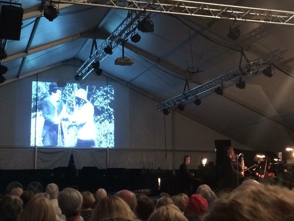 Charlie Chaplin's film  The Tramp  being shown as part of the premeiere performance at the Wintergreen Festival.