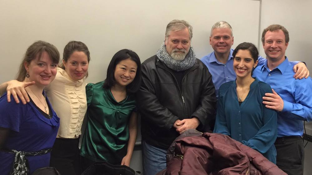At the Tenri Cultural Institute premiere in February 2016 : Naho Parrini, Jeremy Blanden, Nikki Federman, Margalit Cantor, Rebekah Griffin Greene, Daron Hagen, Marc Peloquin.