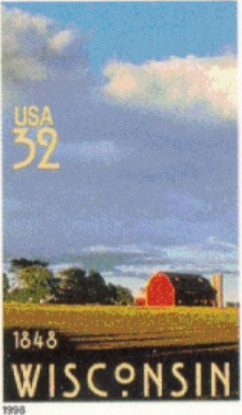 Wisconsin sesquicentennial stamp.