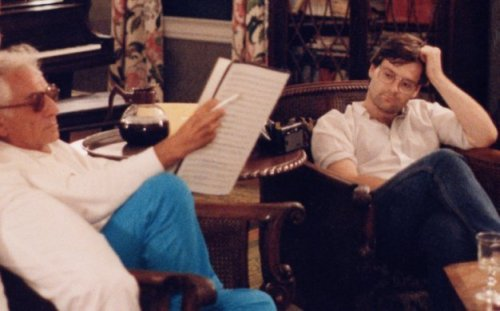 Leonard Bernstein listening to one of Daron Hagen's compositions at Tanglewood in 1984.