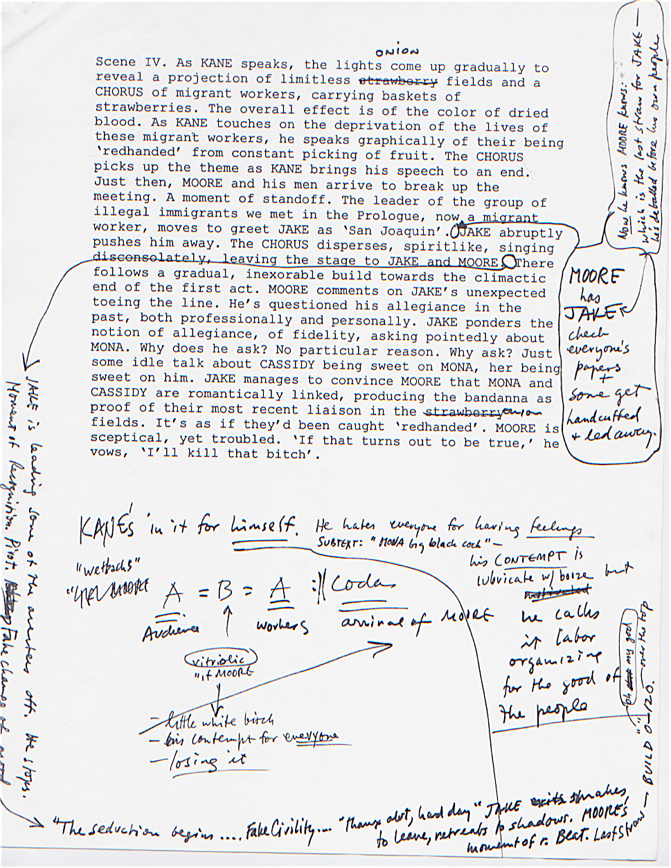 "A page from the Hagen-Muldoon treatment for ""Bandanna"" with Daron's hand-written notations."