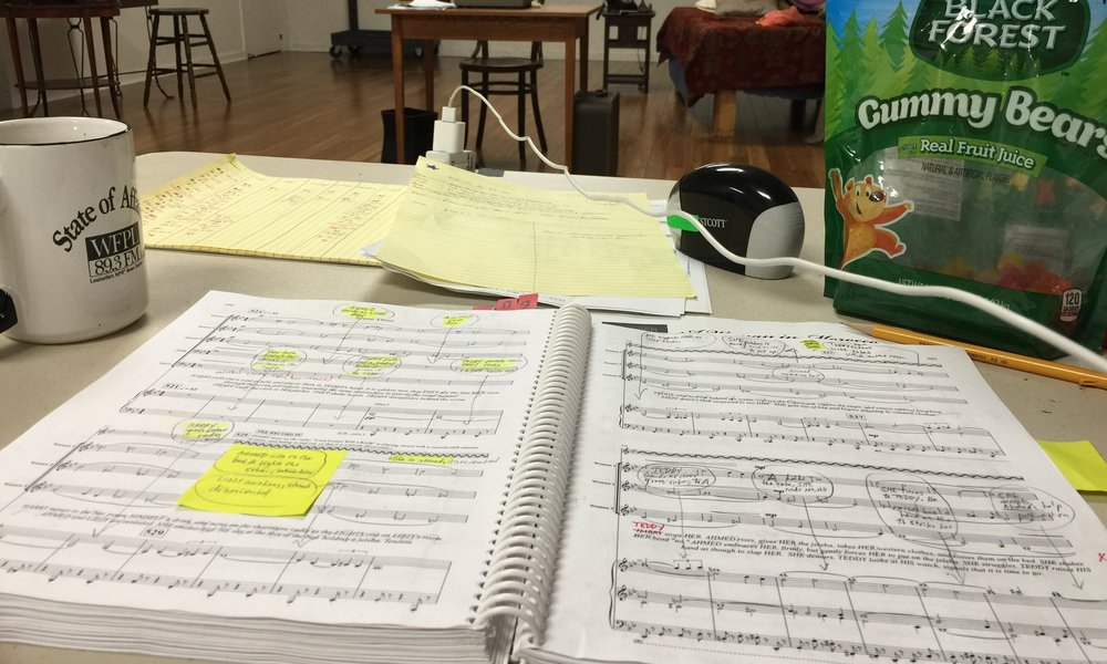 "The vocal score of ""A Woman in Morocco"" during rehearsals at Kentucky Opera."
