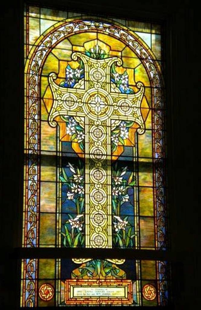 A window in the First Congregational Church of Blue Hill.