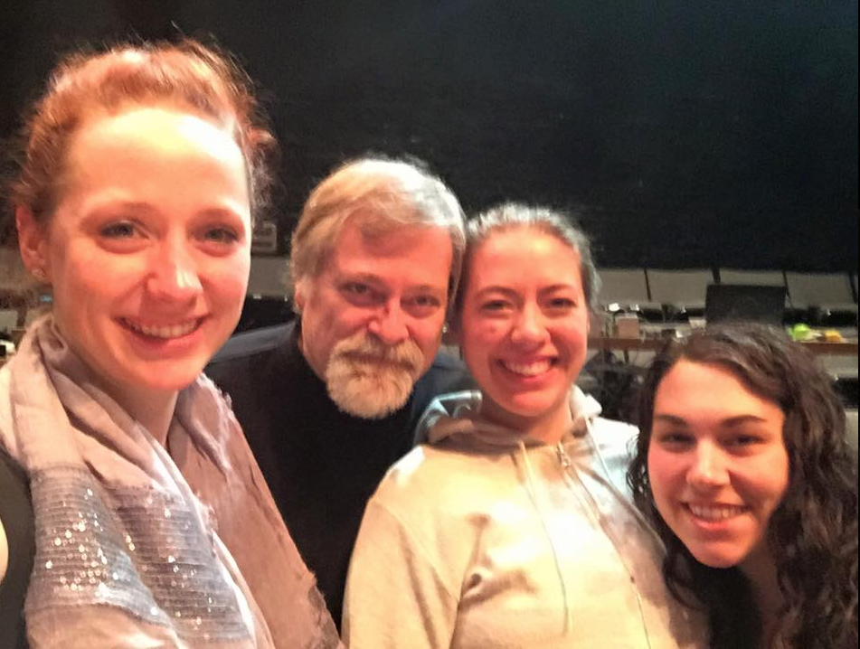 Composer-Director Hagen with the stage manager, lighting designer, and sound designer of  A Woman in Morocco  during production in Kentucky. (Photo credit: Barbara Grecki)