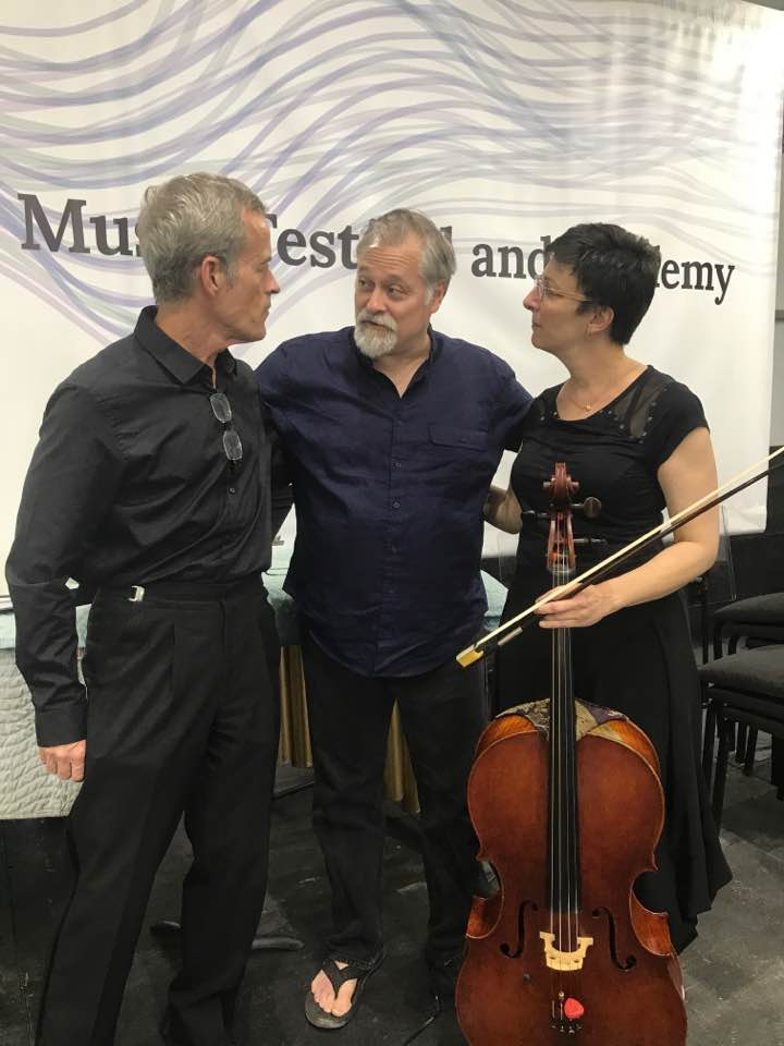 Marshall, Hagen, and Kapps following the world premiere of Hagen's Sonata for Cello and Piano at the Wintergreen Music Festival on 25 July 2017.