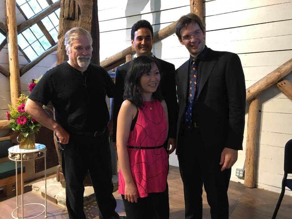 Hagen and the Horszowski Trio at Maverick in Woodstock, NY following their performance of his Piano Trio No. 2.