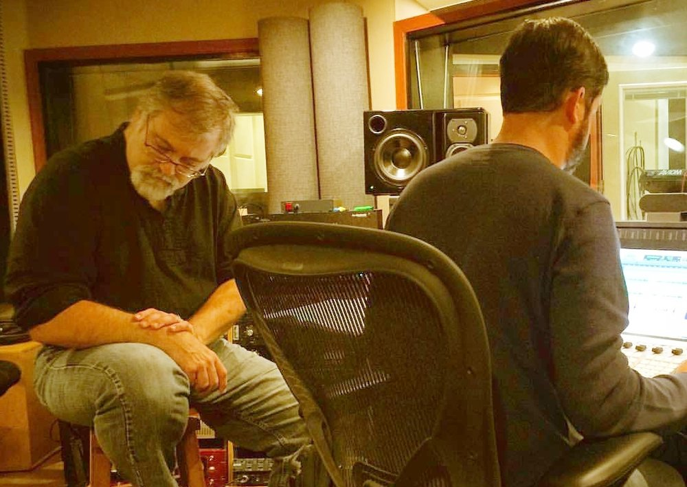 Composer-producer Daron Hagen listening to playbacks during sessions at Morningstar Studios with Lyric Fest.