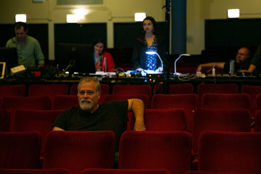 "The composer / director / librettist in September 2018 during the dress rehearsal of ""Orson Rehearsed"" at the Studebaker Theater in Chicago. (Photo by Elliot Mandel.)"