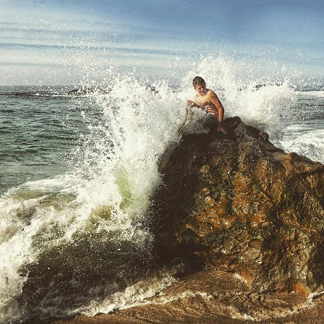 Sitting on a rock waiting for a splash never gets old for this one.