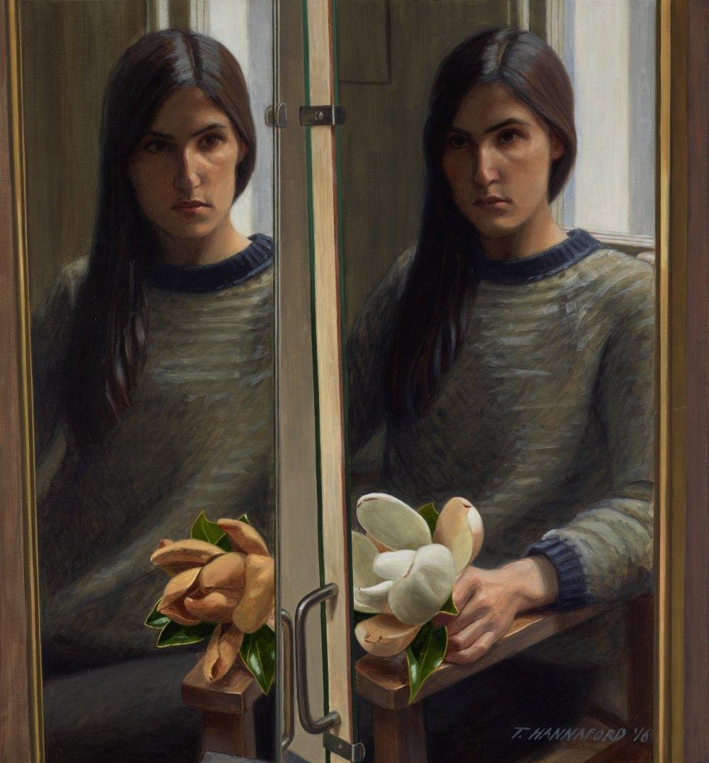 Tsering Hannaford - Self-portrait with magnolia