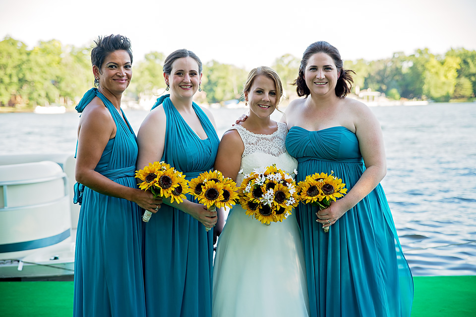 Beautiful bridesmaids Lucy, Lisa, and Matron of Honor, Jennifer, with the bride.