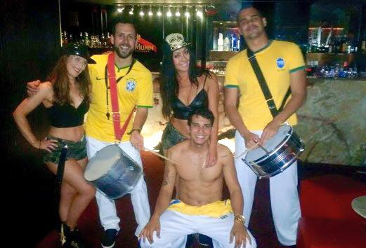 Our reggaeton dancers with our Brazilian percussion team, 2015