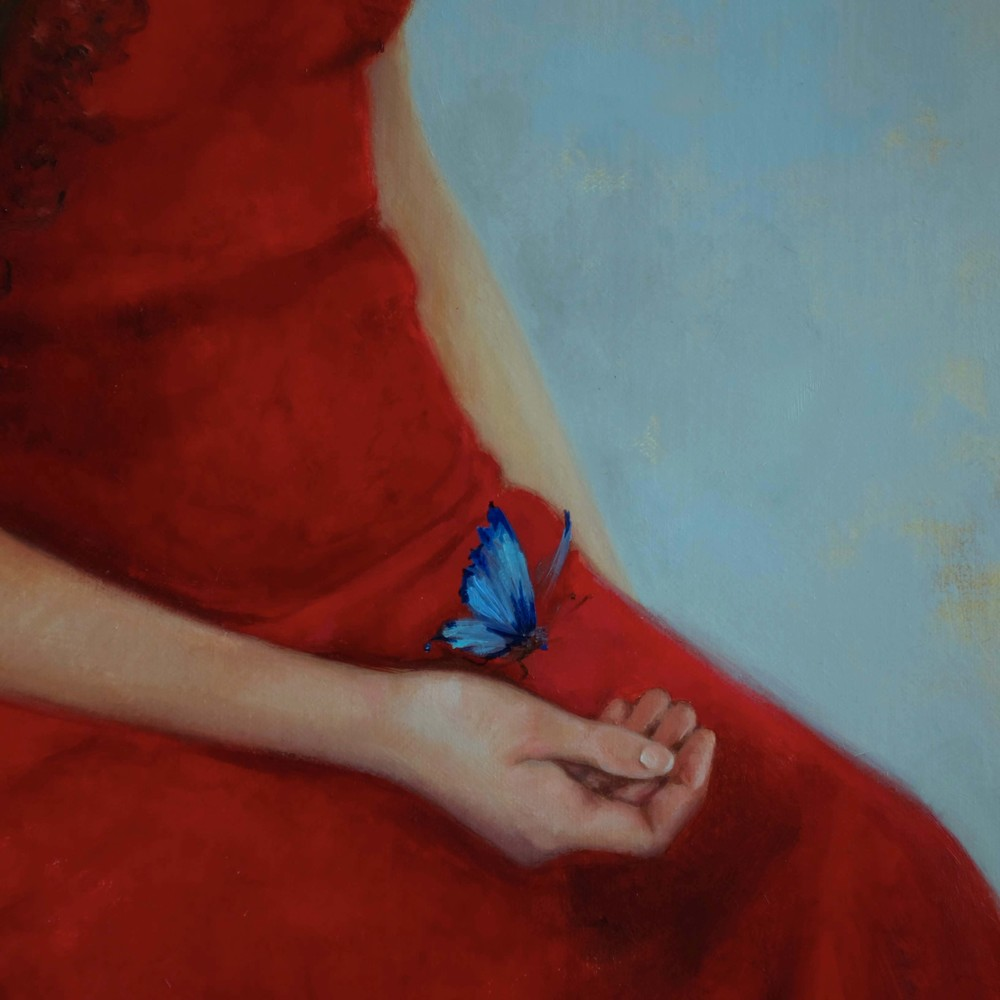 Butterfly and hand detail of Neptune's Daughters by Soraya Bradley