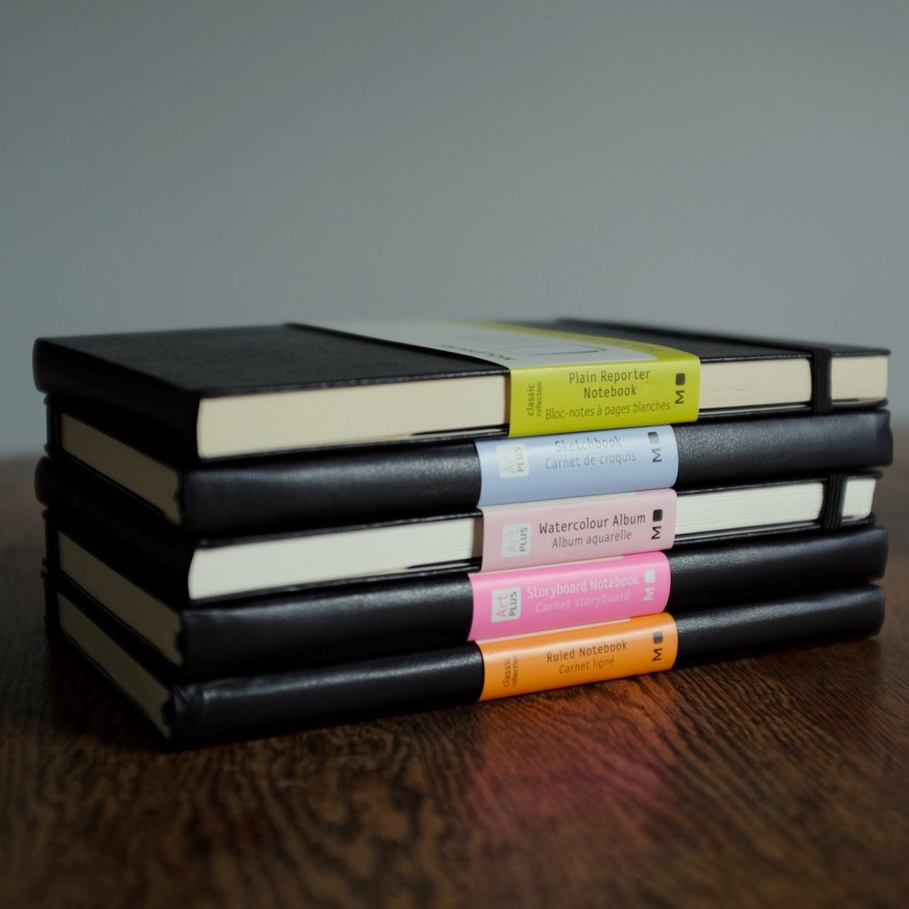 The Moleskine Notebook -  Classic Ruled, Plain Reporter, Storyboard, Watercolour and the Sketchbook.