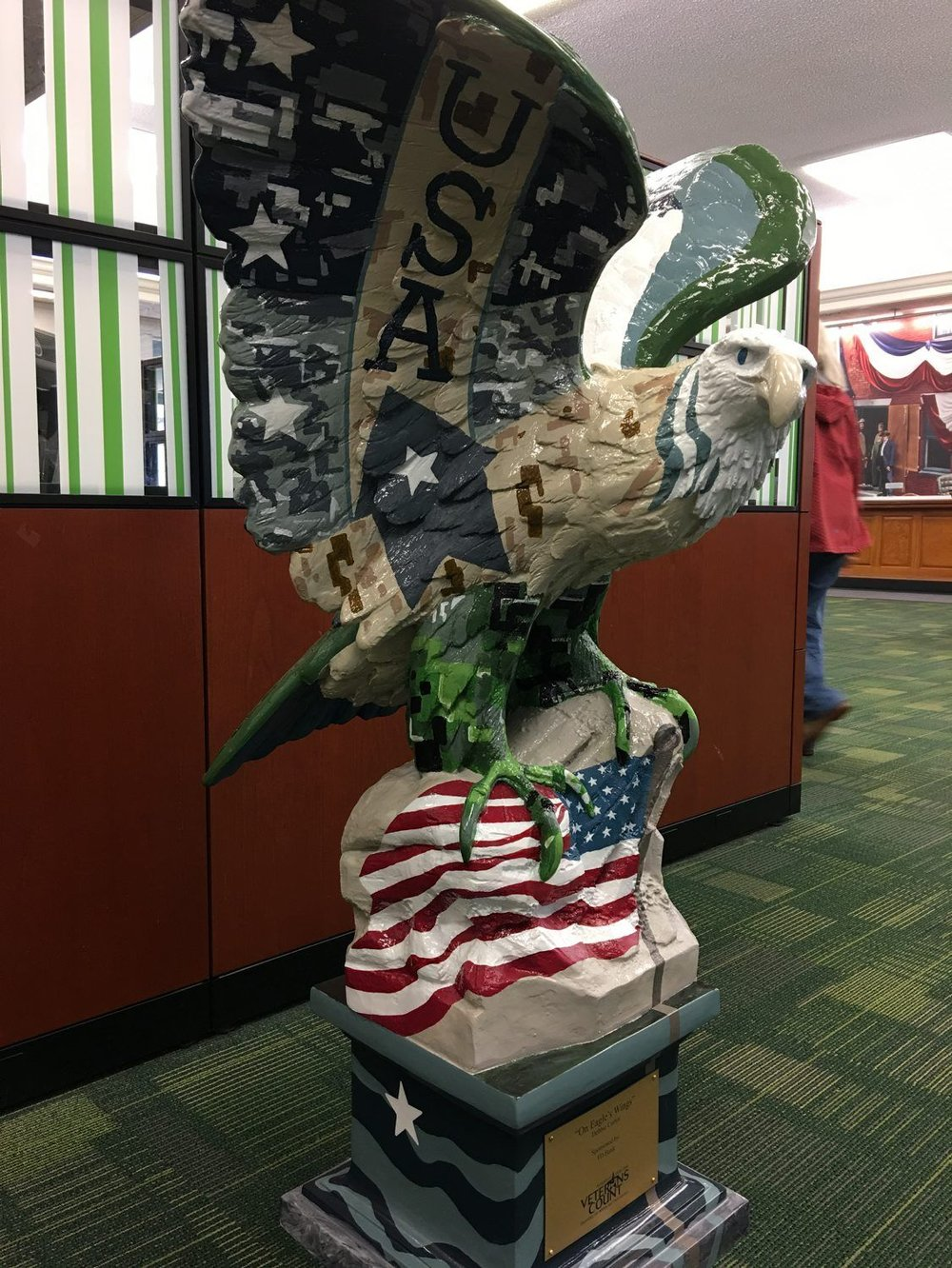 """On Eagles Wings"" by Debbie Curtin is on display at TD Bank on State Street in Portsmouth. (KIMBERLEY HAAS/UNION LEADER CORRESPONDENT) - See more at: Union Leader"
