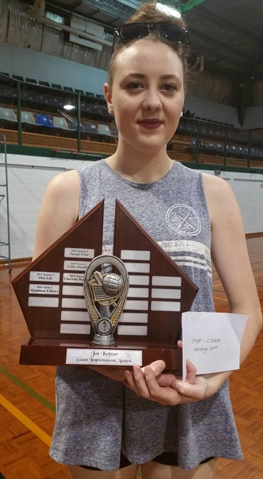 Ashleigh Smith, the recipient of the Joe Kotzur Giant Improvement Award