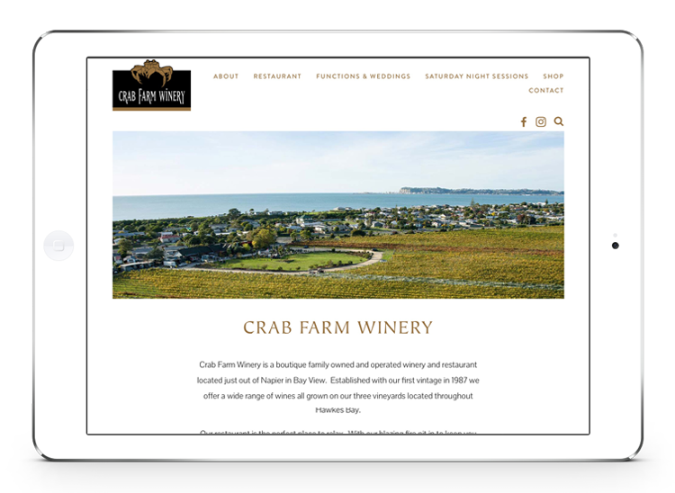 Crab Farm Winery Website