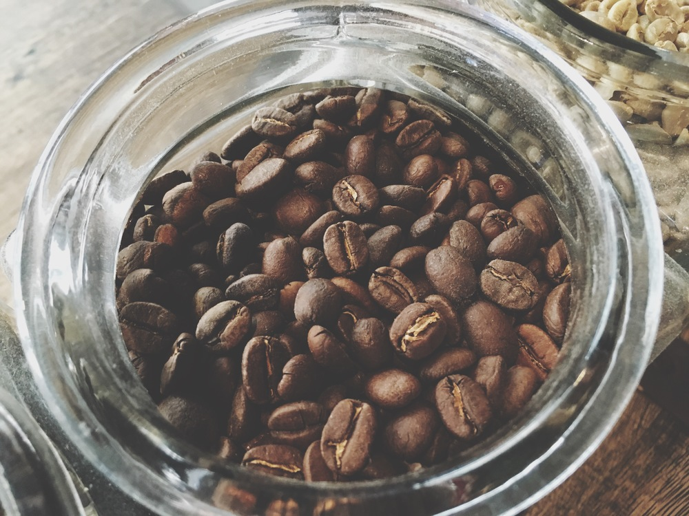 Freshly roasted coffee beans, prepared in the early hours of the morning.