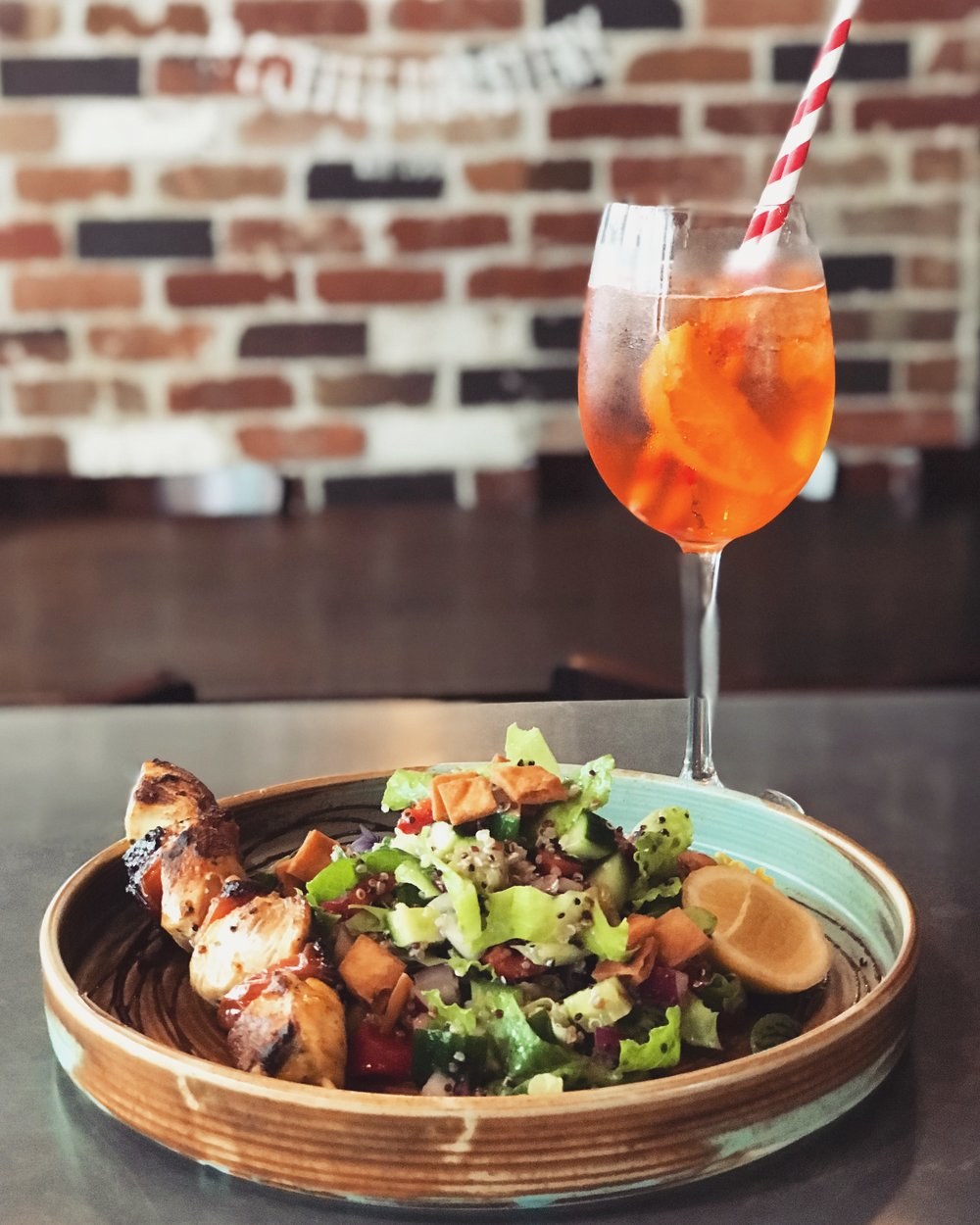 3-9 January - Chargrilled bell pepper and chicken spiedino on a bed of conditella salad with garden veggies, roasted quinoa, sourdough croutons and aged Modena balsamic vinegar.