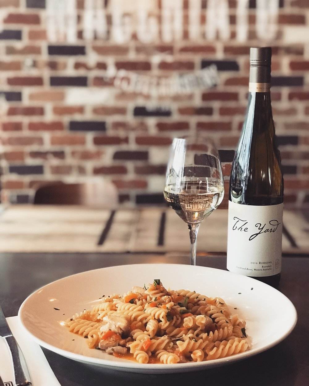 6-12 December - Fusilli alla Genovese - slow cooked chicken thigh Genovese white ragu' with notes of carrot, celery and onion.Best accompanied by The Yard Riesling, Frankland River (WA).