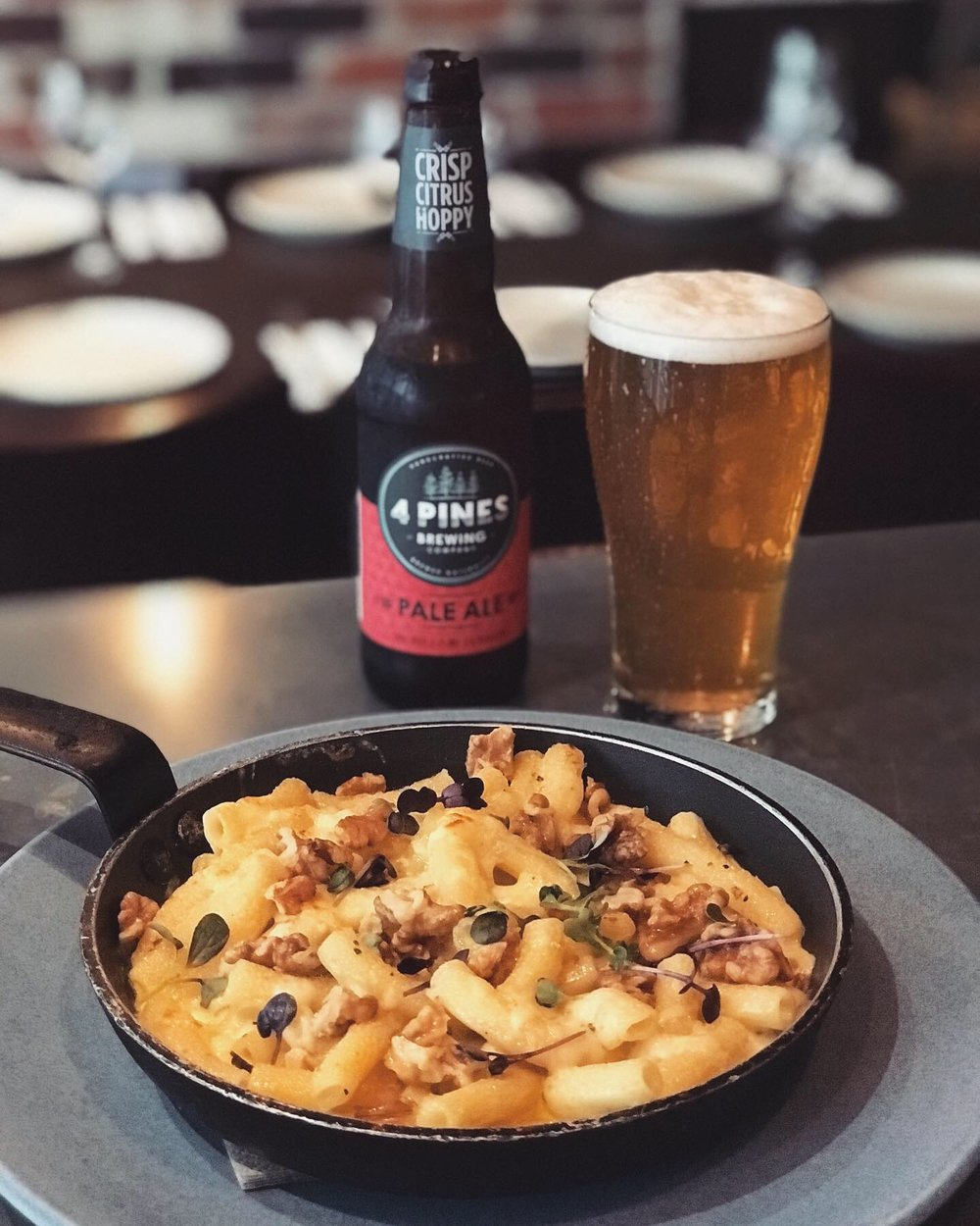 10-16 April - ~ Macc's Mac & Cheese ~⠀⠀House-made truffled macaroni in a gooey four-cheese sauce with taleggio, gorgonzola, Parmigiano Reggiano and fiordilatte. Baked until golden and topped with toasted walnuts.⠀⠀Matched with one of the most hip craft beers on the Australian scene: Four Pines Pale Ale.⠀