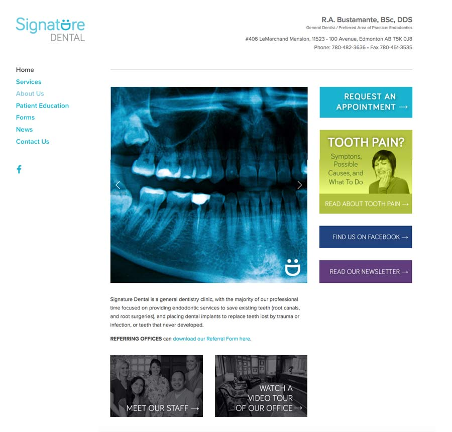 Signature Dental website