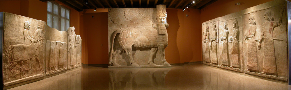 The Yelda Khorsabad Court recreates part of the interior of a palace courtyard of king Sargon II of Assyria (ca. 721–705 BC), dominated by the most spectacular object in the Mesopotamian collection — the 16-foot tall, 40-ton, human-headed winged bull (lamassu). The lamussu and the adjacent reliefs, which include images of king Sargon and his son, and later king, Sennacherib, were excavated by the Oriental Institute between 1928–1935 at Sargon's capital city Dur-Sharrukin (modern Khorsabad). Photo courtesy of Emily Teeter, text courtesty of the Oriental Institute Museum.