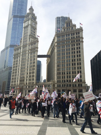 Assyrians and others protest on March 13 in downtown Chicago.  (Photo by Ramsen Shamon)