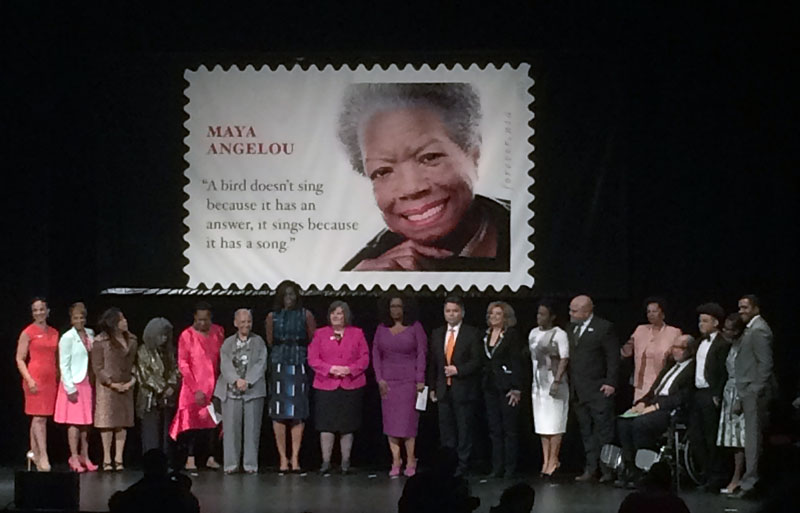 "Oprah Winfrey and Michelle Obama among guests at Tuesday's ""forever"" stamp ceremony.  (Photo by Ramsen Shamon)"