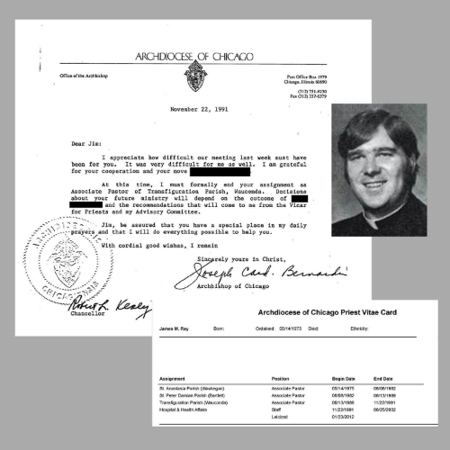 A 1991 letter from Archbishop Bernardin to Rev. James Ray, informing Ray that he has been formally removed as associate pastor of Transfiguration Parish in Wauconda. At bottom right, an inset of Ray's vitae card showing his past positions.  (Photo of Ray courtesy of Bishop-Accountability.org. Records courtesy of the Archdiocese of Chicago)