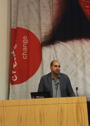 """If I had a regret it's that the tweets let people to think that I support things like anti-Semitism that I am adamantly opposed to,"" Steven Salaita said Wednesday at Columbia College.  (Photo by Ramsen Shamon)"